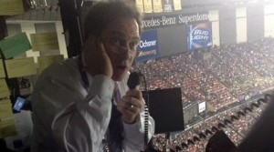 Kevin Harlan describes the scene at Super Bowl 47 via the telephone. (Image courtesy Dial Global Sports)