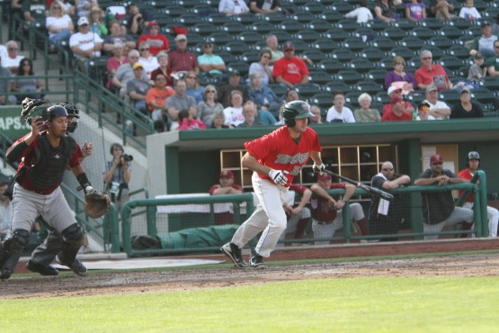 Jeremy Baltz bats against the Wisconsin Timber Rattlers during the 2012 Midwest League Championship Series.