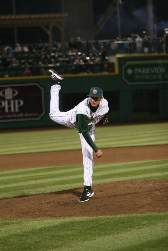 Justin Hancock pitches for the TinCaps in 2012. Photo courtesy Brad Hand.