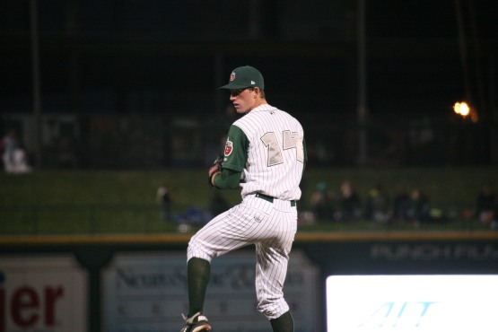 Michael Kelly pitches for the TinCaps in 2012. Photo by Brad Hand.