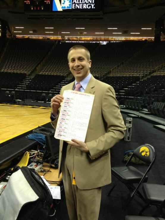 Photo courtesy of my broadcast partner, Paul Biancardi. I'm holding my charts, which are what I use to help me call the game.