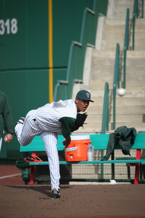 Joe Ross warms up in the Fort Wayne bullpen on April 7th, 2012. Photo by Brad Hand.