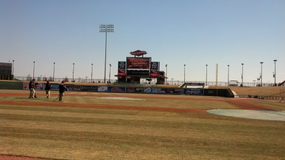 From the top step of the third-base dugout at Dow Diamond.