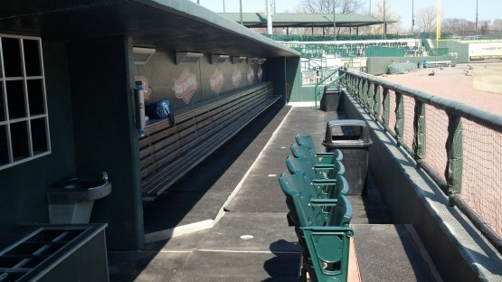 Inside the Fort Wayne dugout.