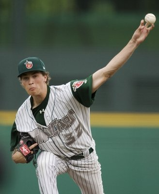 Max Fried throws a changeup (look at his fingers). Photo courtesy of Chad Ryan - The Journal Gazette