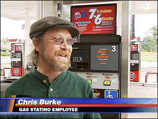 "No, not that Chris Burke. And they spelled ""station"" wrong."