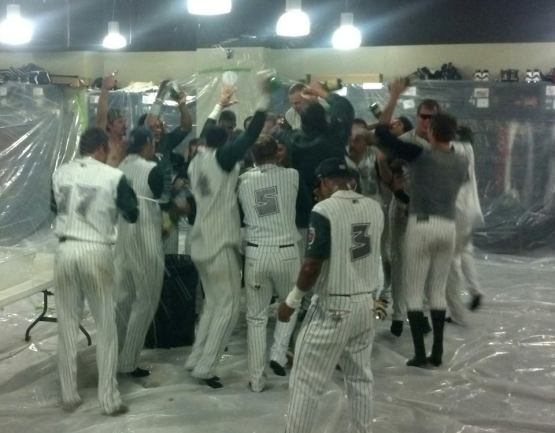 The post-game celebration in the Fort Wayne clubhouse.