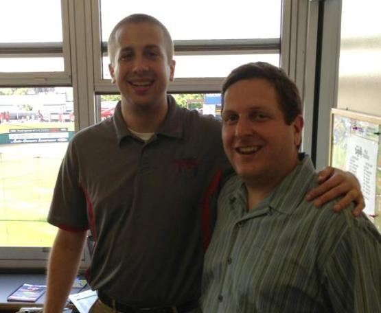 In the visiting radio booth with my friend, Matt Friedman.