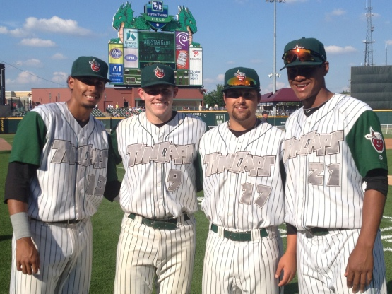 Luis Tejada, Dane Phillips, Roman Madrid, and Joe Ross represented the TinCaps together in the 2013 Midwest League All-Star Game.
