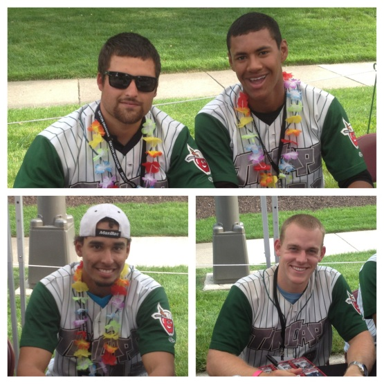Top: Roman Madrid and Joe Ross. Bottom: Luis Tejada and Dane Phillips, who apparently prefers Ruffles to leis.