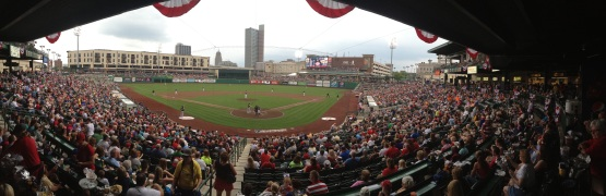 Even with a panoramic shot you couldn't fit in all 8,780 fans at Parkview Field on the Fourth.