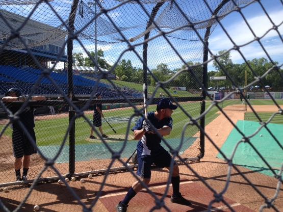 Omare Infante takes batting practice Wednesday.