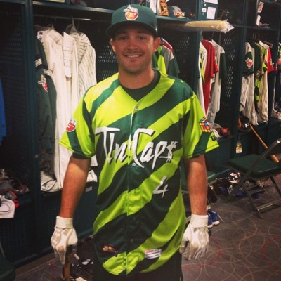 Tyler Stubblefield models the latest creative designs of the TinCaps' Tony DesPlaines.