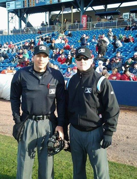 Sam Vogt (L) and Tim Hromada (R) get ready to umpire a game at Classic Park in Eastlake, Ohio. / Photo courtesy of Tim Hromada
