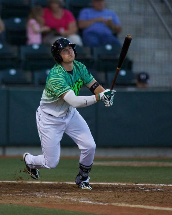 Hunter Renfroe takes his cuts with the Short-Season Eugene Emeralds. (Photo courtesy of the Eugene Emeralds Media Relations Department)