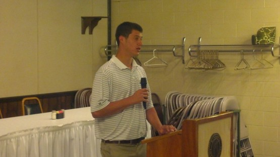 Matt Wisler, a 2012 TinCaps pitcher and Bryan, Ohio, native, speaks to the Bryan Kiwanis Club.