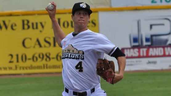 Matt Wisler pitching for the San Antonio Missions in 2013. (Photo via Padres.com)