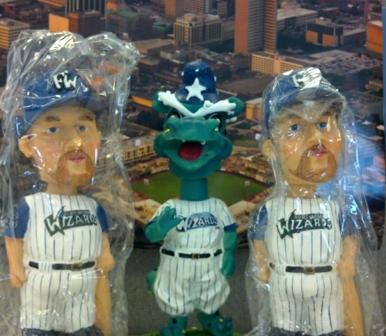 Two Sean Burroughs (1999) bobbleheads, and a Dinger D. Dragon bobblehead.