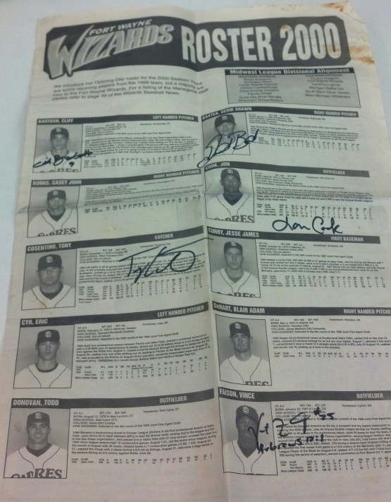 "A copy of the 2000 ""Wizards Baseball News"", autographed by Cliff Bartos, Gerik Baxter, Tony Cosentino, Vince Faison,Shawn Garrett, Travis Jones, Troy Schader and Todd Shiyuk."