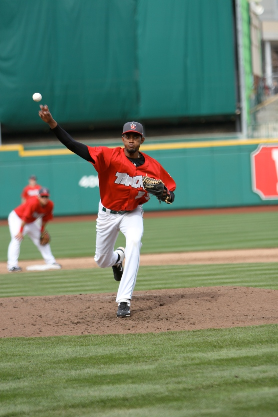 Tayron Guerrero pitches in his only appearance at Parkview Field. (photo by Brad Hand)