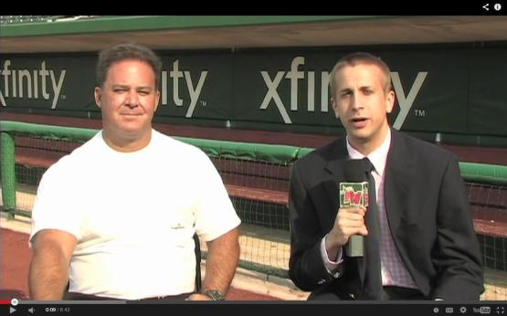 Randy Smith joining Mike Couzens for an interview at Parkview Field in 2012.