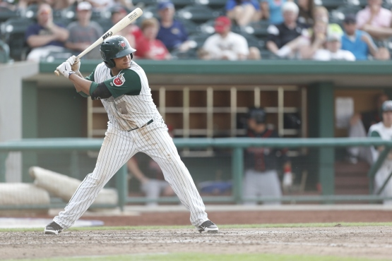 Diego Goris batting for the TinCaps on May 30, 2013. (Photo Credit: Jeff Nycz, Mid-South Images)