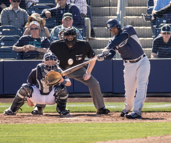 Justin Upton homering in his Padres Spring Training debut. (Photo Credit: Jeff Nycz, Mid-South Images.)